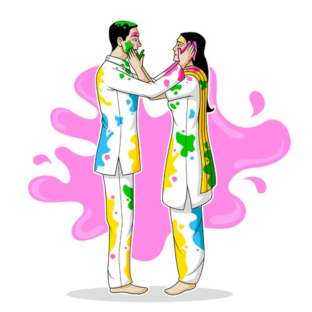 Indian people playing Holi Vector