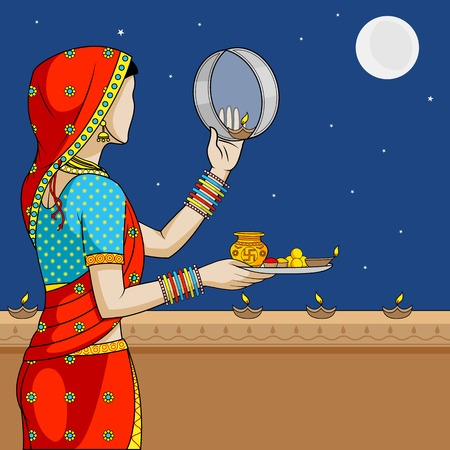 Indian woman doing Karwa Chauth Illustration