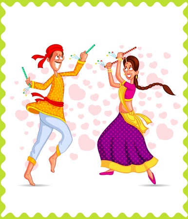 traditional dance: Couple performing dandiya and dancing garba in vector