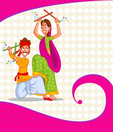 Couple performing dandiya and dancing garba in vector Vector