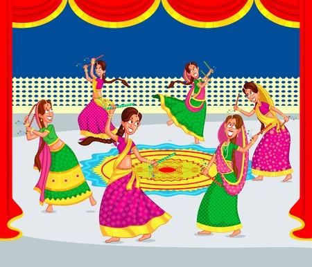 dussehra: Indian woman performing dandiya and dancing garba in vector