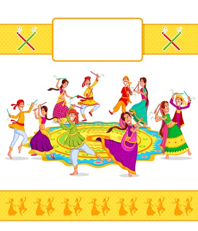 Couple performing dandiya and dancing garba in vector