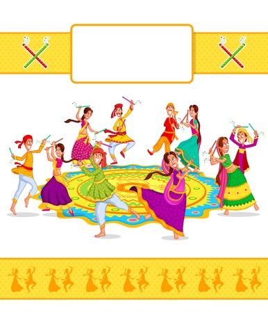 Echtpaar uitvoeren Dandiya en dansen garba in vector