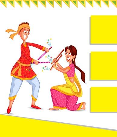 Couple performing dandiya and dancing garba in vector Vector