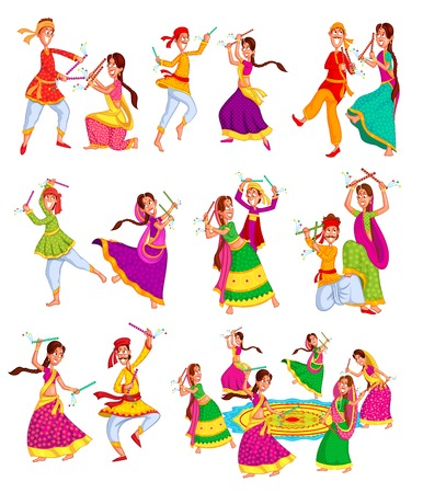 Couple performing dandiya and dancing garba in vector