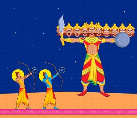 ravana: Rama killing Ravana during Dussehra in vector