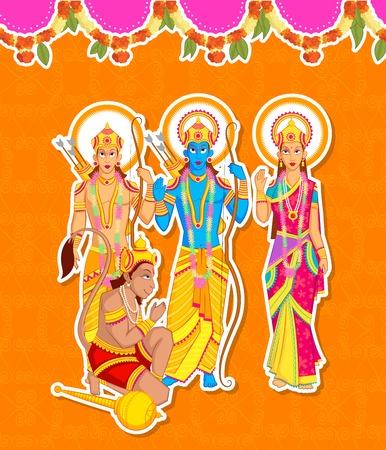 Lord Rama, Laxmana, Sita with Hanuman in vector Vector