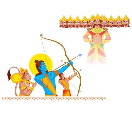Rama doden Ravana tijdens Dussehra in vector Stock Illustratie