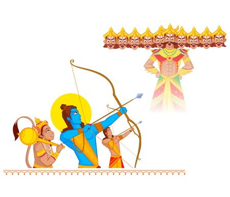 rams: Rama killing Ravana during Dussehra in vector