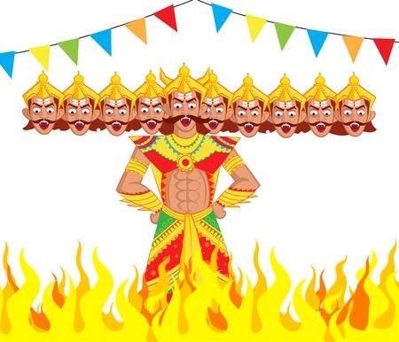 dussehra: Ravana Dahan, Burning effigy of Ravana in vector Illustration
