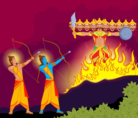 indian festival: Rama killing Ravana during Dussehra in vector