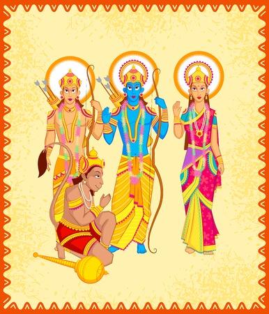 carnero: Señor Rama, Laxmana, Sita con Hanuman en el vector Vectores
