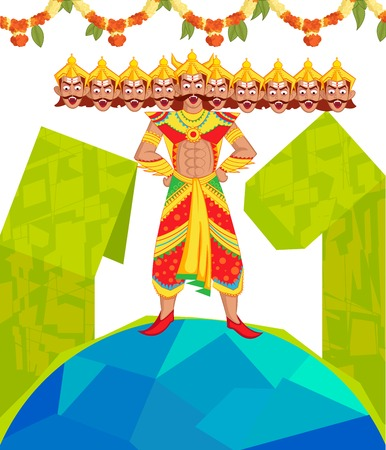 immortal: Ravana with ten head for Dussehra in vector