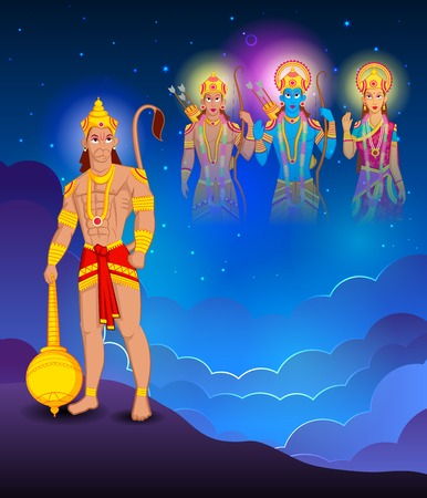 sita: Lord Rama, Laxmana, Sita with Hanuman in vector