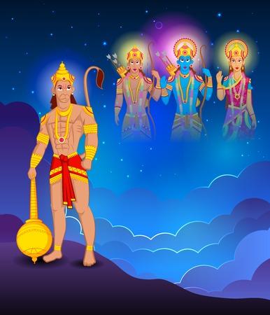 hanuman: Lord Rama, Laxmana, Sita with Hanuman in vector