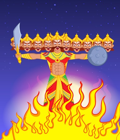 immortal: Ravana Dahan, Burning effigy of Ravana in vector Illustration