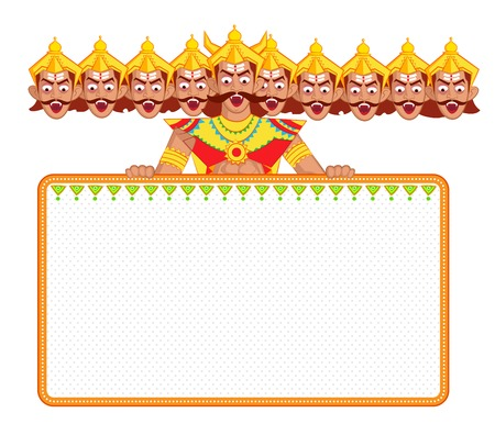 Ravana with ten head for Dussehra in vector