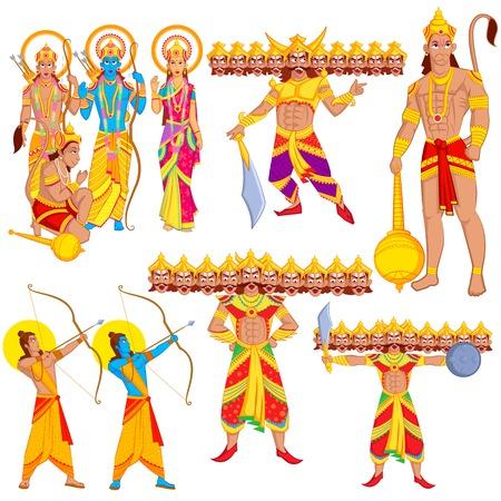 indian god: Lord Rama, Laxmana, Sita with Hanuman in vector