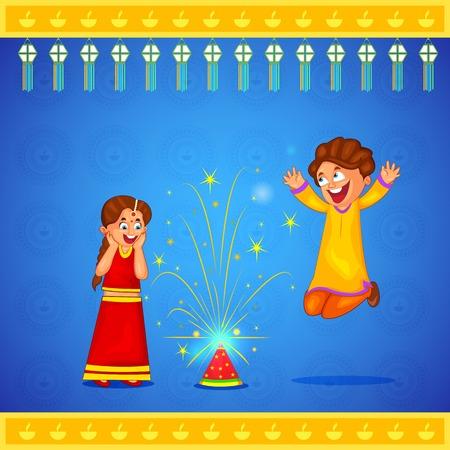 indian happy family: kids enjoying firecracker celebrating Diwali in vector Illustration