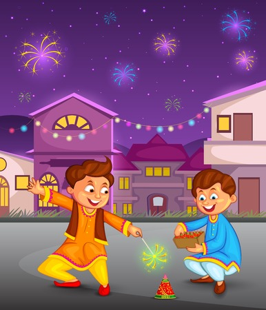 diwali celebration: kids enjoying firecracker celebrating Diwali in vector Illustration