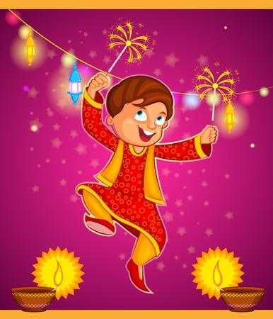 indian happy family: kid enjoying firecracker celebrating Diwali in vector Illustration