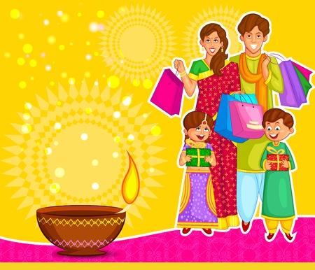 sacra famiglia: Famiglia festeggia Diwali con i regali in vettoriale Vettoriali