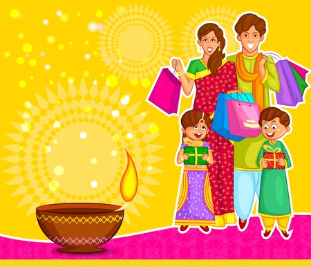 kid shopping: Family is celebrating Diwali with gifts in vector