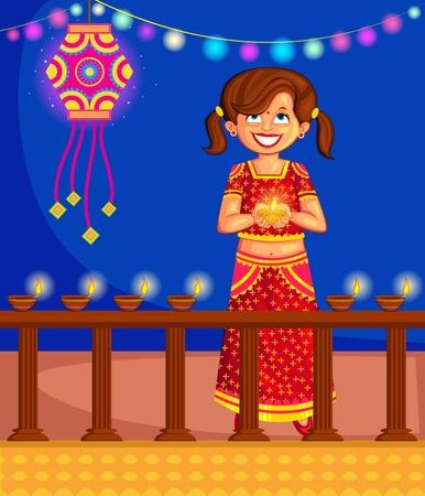 holy family: Girl with diya celebrating Diwali in vector Illustration