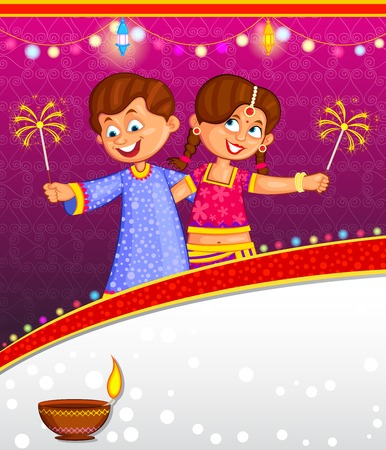 kids enjoying firecracker celebrating Diwali in vector Ilustração