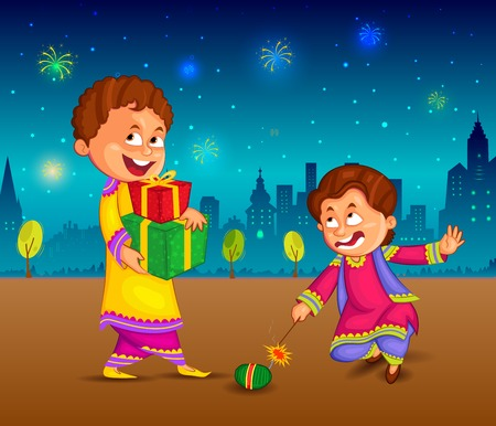 kids enjoying firecracker celebrating Diwali in vector 矢量图像