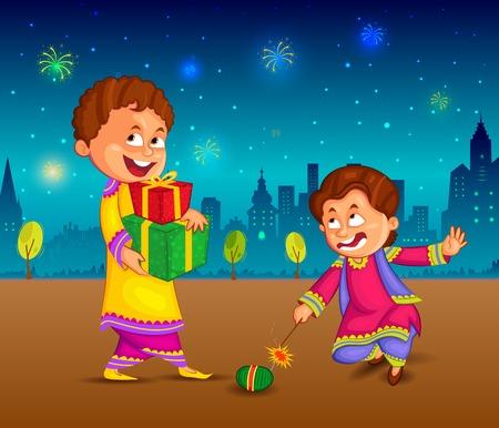 kids enjoying firecracker celebrating Diwali in vector Vectores