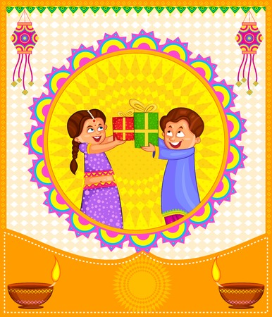 indian family: Kids with gifts celebrating Diwali in vector