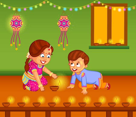 culture decoration celebration: kids with diya celebrating Diwali in vector