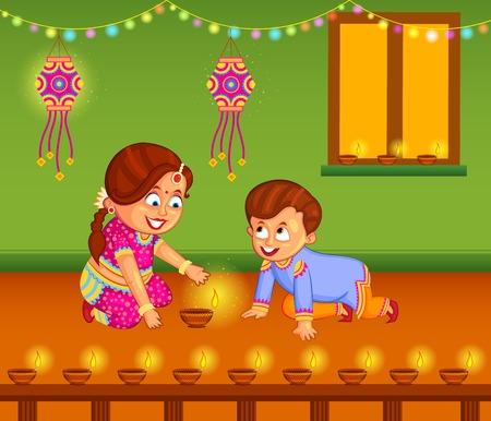 diwali: kids with diya celebrating Diwali in vector