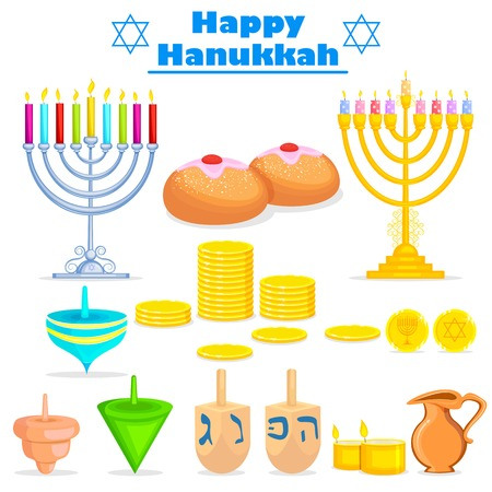 channukah: Israel festival object and symbol in vector Illustration