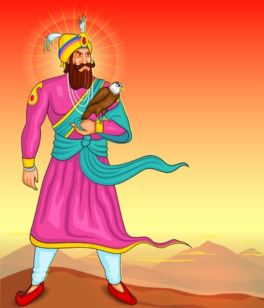 sikhism: illustration of Guru Gobind Singh Jayanti in vector Illustration