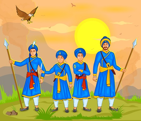guru: illustration of Guru Gobind Singh Jayanti in vector Illustration