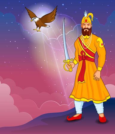 sikhism: illustration of Guru Gobind Singh Jayanti in vector Illustration