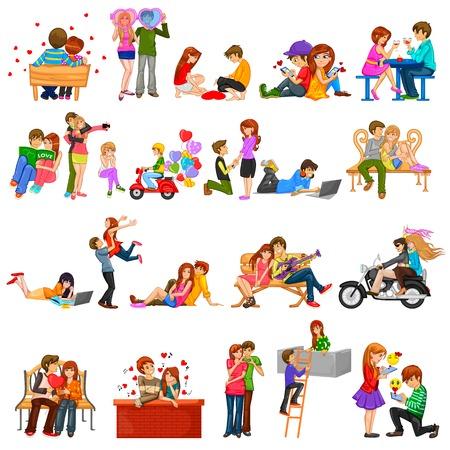 mujeres felices: f�cil de editar ilustraci�n vectorial de la pareja en actitud rom�ntica para San Valent�n Feliz D�a