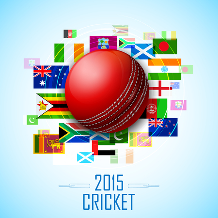 cricket ball: illustration of cricket ball with different participating countries flag Illustration