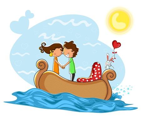 canotaje: Amor kissng pareja mientras que la navegaci�n en el barco en el vector