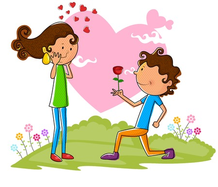 proposing: Love couple proposing with rose in vector Illustration