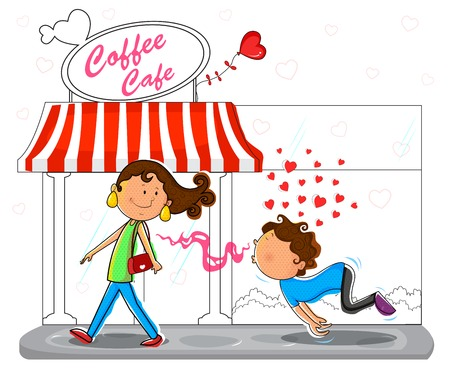 chasing: Love couple flirting infront of coffee cafe in vector