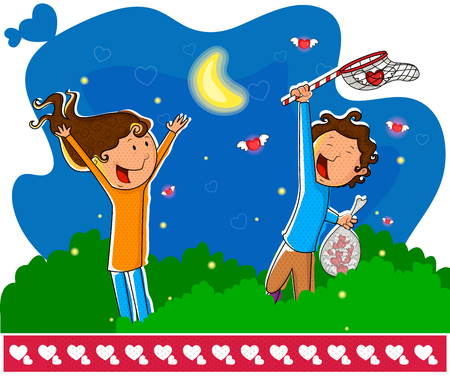 catching: Love couple catching love flies in vector Illustration