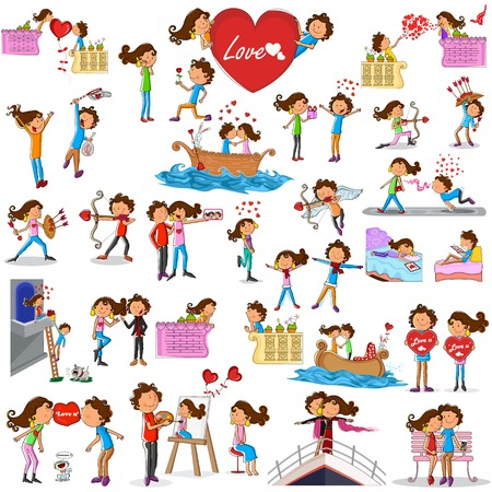 love and friendship: Love couples doing different activities in vector