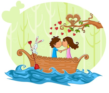 boating: Love couple kissng while boating on boat in vector
