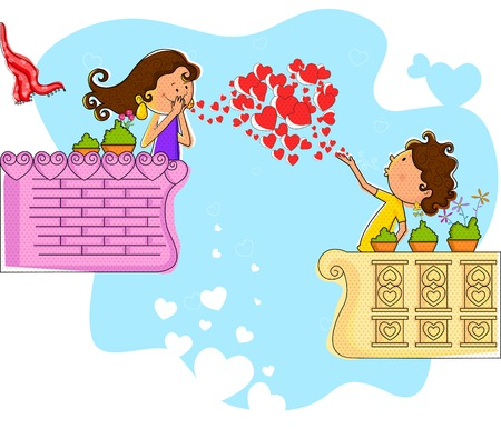 on the balcony: Love couple blowing heart in balcony in vector Illustration