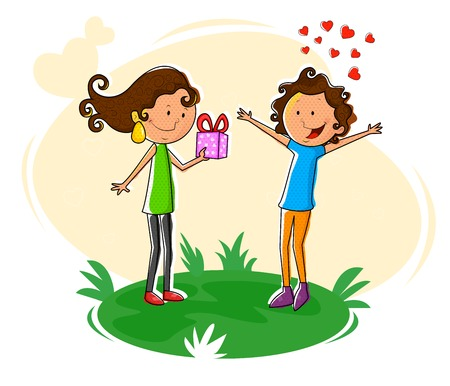 giving gift: Girl giving gift to boy for Valentines Day in vector