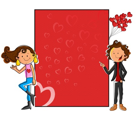 blank board: Girl standing with love blank board in vector