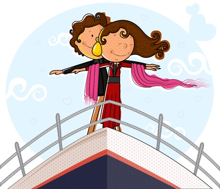 ship deck: Love couple on ship deck in romantic pose in vector